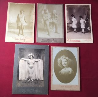 LOT X 5 Early 20th Century VAUDEVILLE Cabinet Cards [Rip Van Winkle, Baton Girls, ETC]. EILER'S...