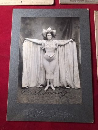 LOT X 5 Early 20th Century VAUDEVILLE Cabinet Cards [Rip Van Winkle, Baton Girls, ETC]