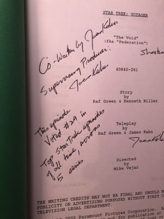 "Star Trek Voyager ""The Void"" Script [SIGNED X3 / FROM PERSONAL COLLECTION OF JAMES KAHN]; FROM THE AUTHOR OF ""THE GOONIES"", ""INDIANA JONES AND THE TEMPLE OF DOOM"" & ""RETURN OF THE JEDI"""