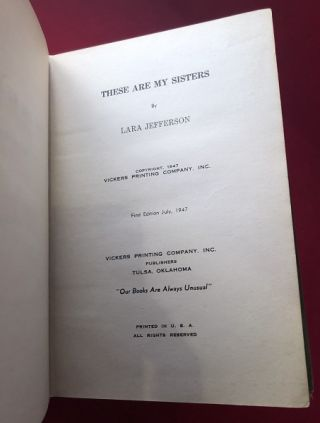 These Are My Sisters (1947 TRUE 1st Hardcover Printing)