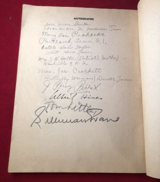 The Nashville Tennessean's Seventh Annual 3-Star Forum Banquet Book (SIGNED BY SEVERAL INCLUDING J. PERCY PRIEST AND SILLIMAN EVANS)