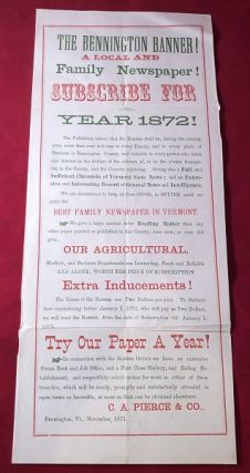 "6X14 IN Original ""Bennington Banner"" 1872 Advertising Broadside. BENNINGTON BANNER BROADSIDE"