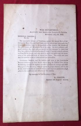 RARE CONFEDERATE PRINTED VICKSBURG DEFENSE COMMENDATION / July 22, 1862 [Confederate Imprint]....