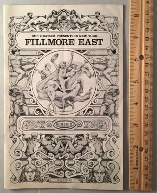Original Fillmore East Program for October 20-25, 1969 (THE FIRST FULL PERFORMANCE OF 'TOMMY' BY THE WHO IN AMERICA). Music, Pete TOWNSHEND, Roger DALTREY, John, ENTWHISTLE, Keith MOON.