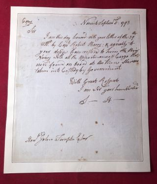 1793 Samuel Huntington Signed Letter RE: Release of Ship During the Genet Affair (ALS). Samuel...