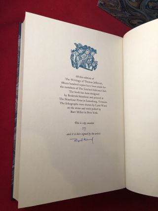 The Writings of Thomas Jefferson #273/1500 (SIGNED BY ILLUSTRATOR LYND WARD)