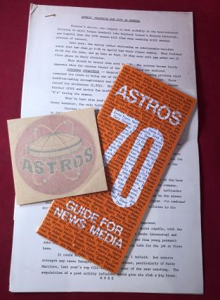 "Houston Astros 1970 Media Guide w/ 7 PP Typed ""Astros Prospects"" Prospectus and Sticker. HOUSTON..."