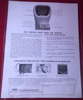 Original 1971 COMPUTER SPACE Video Game Sales Flyer (THE FIRST COIN-OPERATED VIDEO GAME)
