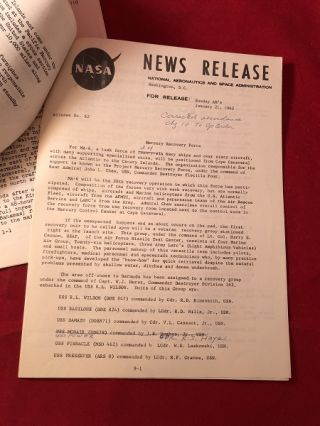 """Lot of 3 Original 1962 """"Mercury - Atlas 6"""" NASA Press News Releases (From Collection of Ken Grine, Chief of Public Relations)"""