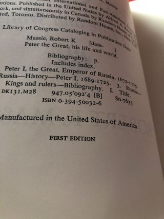 Peter the Great (SIGNED FIRST PRINTING)