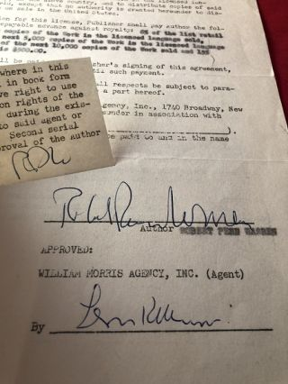 January 31, 1956 Robert Penn Warren Signed Publishing Contract (Band of Angels)