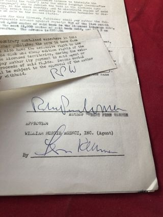 January 11, 1956 Robert Penn Warren Signed Publishing Contract (Dutch Rights for Band of Angels)