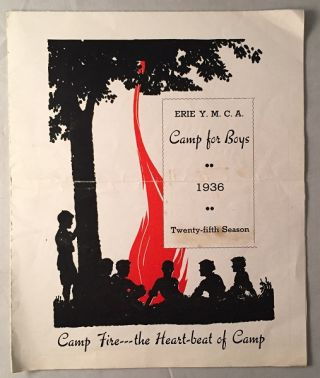 "1936 Folding Brochure for the ERIE Y.M.C.A. Camp for Boys - Camp ""Unaliyi"""