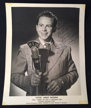 "Vintage Signed 8X10 WSM / Grand Ole Opry Publicity B/W Photograph. Autographs, ""Little"" Jimmy DICKENS."