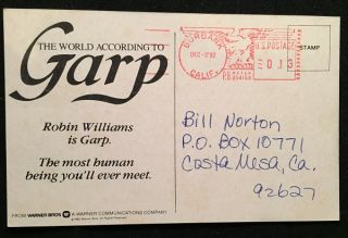 The World According to Garp PROMOTIONAL FILM POSTCARD (1982)