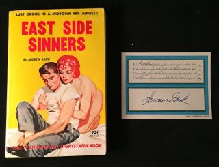 "East Side Sinners (One of Lawrence Block's mid-century erotica books); ""Lust Orgies in a Midtown Sex Jungle!"" Erotica, AKA, Andrew SHAW, Lawrence BLOCK."