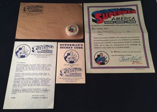 RARE Original 1939 SUPERMEN OF AMERICA Complete Fan Club Kit (Includes original pinback, Secret Code Manual etc...). Comics, Jerry SIEGEL, Joe SHUSTER.