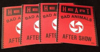 1987 HEART Bad Animals Tour Unused Backstage Pass LOT of Four. 80's Curiosa, Ann WILSON, Nancy WILSON, et all.