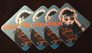 "1986 PAT BENATAR Seven the Hard Way Tour ""CREW"" Pass Lot of Four. Pat BENATAR"