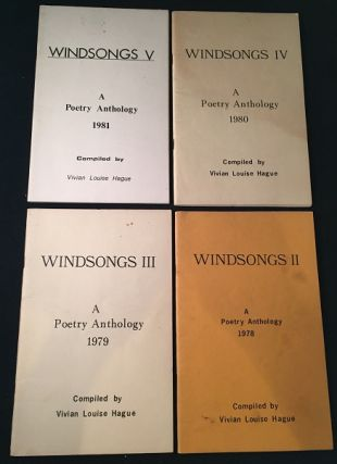 "LOT of four original ""Windsongs Poetry Anthology"" Books - EACH SIGNED BY CONTRIBUTOR CLARA BREWER (1978 - 1981 RUN). Poetry, Clara BREWER, Vivian HAGUE, Margaret GILES, et all."