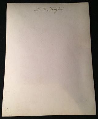 7 1/8 X 9 1/2 Photograph Signed by American Painter, Eli Maybee