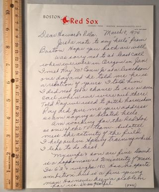 March 8, 1974 Johnny Pesky ALS on Official Boston Red Sox Letterhead. Baseball, Johnny PESKY.